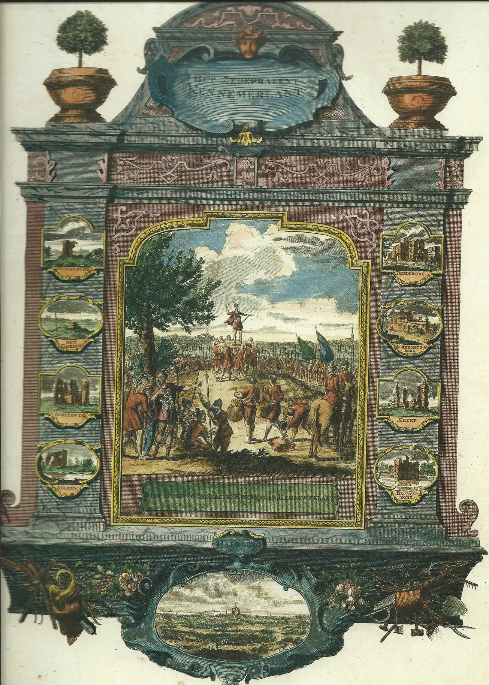 Ingekleurde gravure van 'Het Zegenpralent Kennemerlant' met prenten van Henbdrik de Leth (1703-1766). Rechtsonder is de ruïne van Berkenrode afgebeeld.