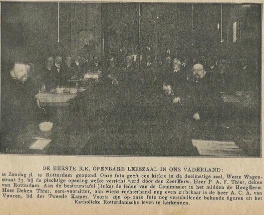 Slot: de eerste Katholieke Openbare Leeszaal [in Rotterdam]. Uit: Nieuwe Haarlemsche Courant, 4 maart 1911.