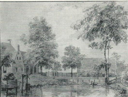 De plaats en kolfbaan achter herberg 'De Geleerde Man' Aquarel door Jurriaan Andriessen uit omstreeks 1800