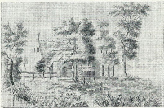 Achter etablissement 'De Geleerde Man' in Bennebroek. Tekening door H.Scholten, 1820 (Noord-Hollands Archief)