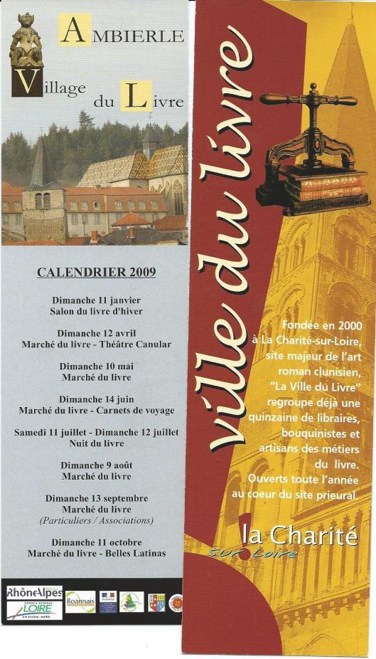 Bladwijzers van Franse boekensteden: Ambierle (links) en La Charité sur Loire
