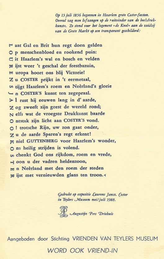 Ode aan Lourens Janszoon Coster, 1856, herdrukt op de Augustijn Pers in 1988