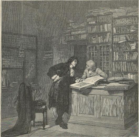 In een Antwerpse boekhandel. Gravure naar een schilderij van A.Wirth
