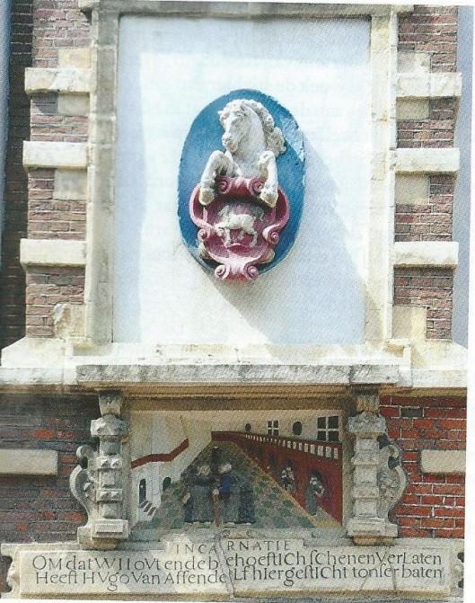 Gevelsteen van het gasthuis van mr.Hugo van Assendelft in de Jansstraat Haarlem met het wapen van de stichter. Hugo van Assendelft was ook de stichter van het Bernardietenklooster Porta Coeli in Heemstede