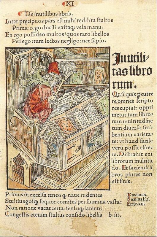 'De boekennar'. Uit: Sebastian Brant, Das Narrenschiff, 1494/1498.