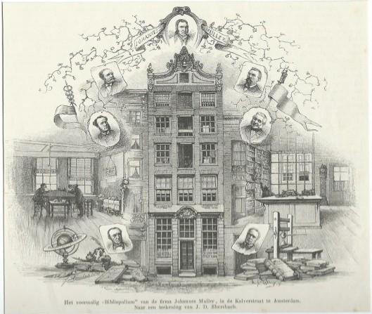 Het voormalig 'Bibliopolium' in Amsterdam van de firma Johannes Muller. Gravure uit 1884