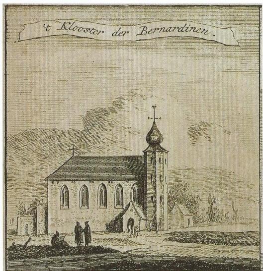 Gravure uit 1786 van Hendrik Spilman met voorstelling van de kapel van klooster de Hemelpoort (maar een afbeelding van Thomas Thomaszoon uit 1578)