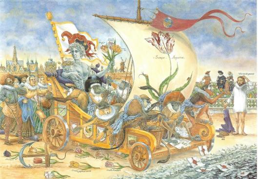 Haarlem 1636-1637. Holland raakt in de ban van de handel in tulpenbollen. De prijzen stijgen tot fabelachtige hoogten. De handelaren die in Flora's stuurloze wagen meerijden, zijn afgebeeld als dwaze apen en dragen veelbetekenende namen. Beschreven door A.H.G.Rinnooy Kan. Schoolplaat gemaakt door John Rabau. Uit: Historisch Tableau.