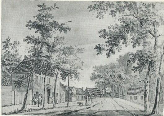 Het armhuis bij de ijzeren brug te Heemstede. Tekening van P.van Loo, 1767 (N.H.A.)