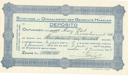 Deposito Haarlem uit de tijd dat Mary Pos Leidsevaart 254 woonde (1934)