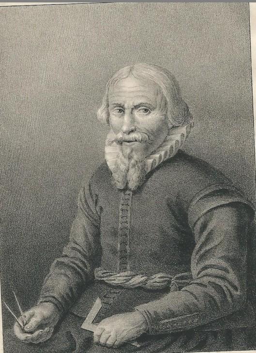 Portret van Leeghwater; steendruk door H.J.Backer