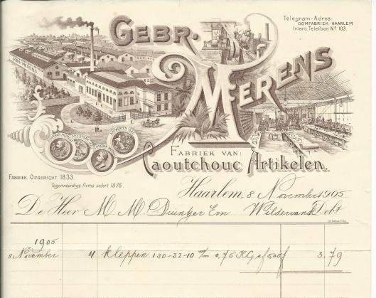 Briefhoofd gomfabriek Gebr. Merens Haarlem