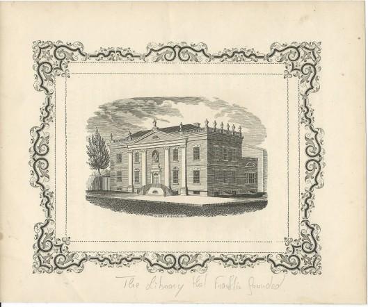 Gravure van door Benjamin Franklin gestichte Library Company in Philadelphia