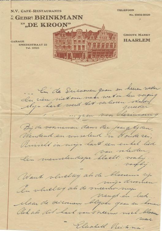 Briefhoofd café-restaurant Gebr. Brinkmann en 'de Kroon' Haarlem met een vers van Elisabeth Reitsma (1897-1982)