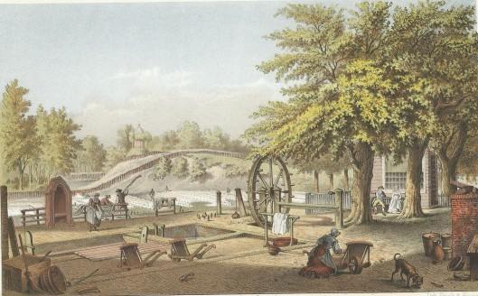 De lijnwaadblekerij Bleeklust op de Glip van de weduwe Louis Gunst in 1797. Litho naar een tekening van Joseph Charles