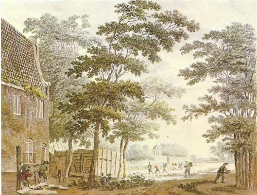 Hofstede Elswouthoek Overveen. Aquarel toegeschreven aan H.Tavenier (Provinciale atlas Noord-Holland)