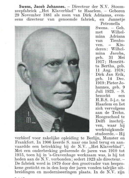 Biografie Jacob Johannes Swens. Uit: Persoonlijkheden in het Koninkrijk der Nederlanden, 1936