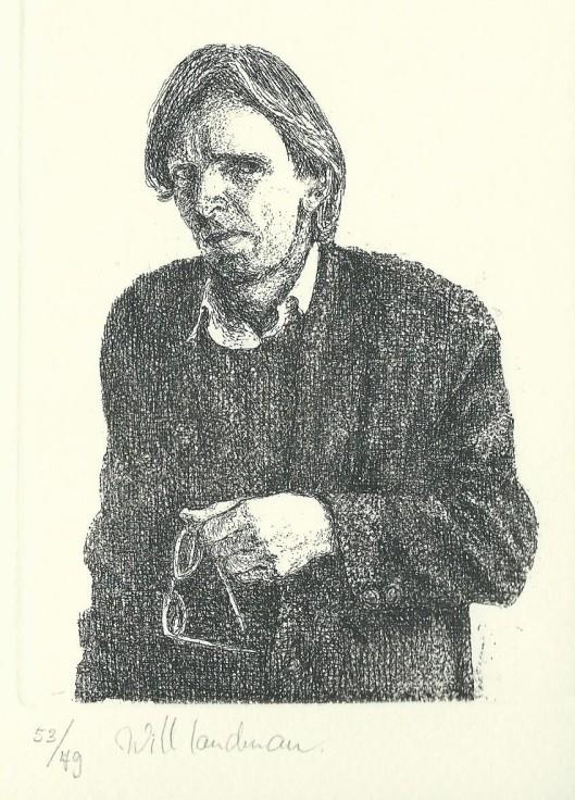 Portretgravure door Will Landman van Thomas Grafdijk