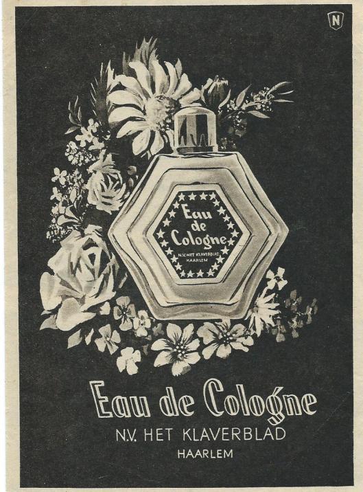 Advertentie Eau de Cologne van 'Het Klaverblad' Haarlem