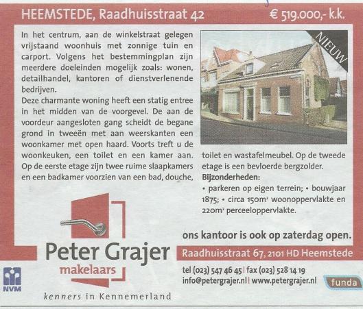 Raadhuisstraat 42 Heemstede, advertentie uit 'Goed Wonen' van 12 maart 2011.