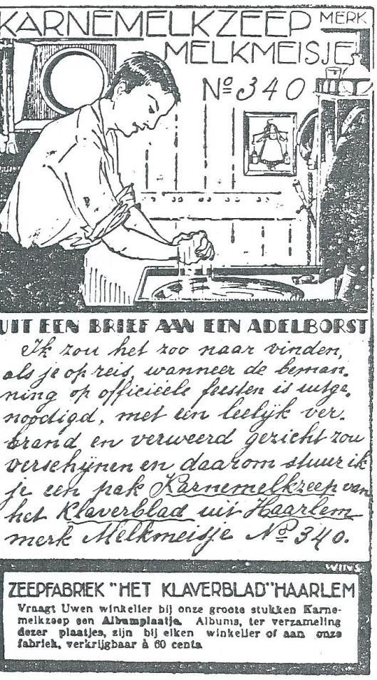 Advertentie Karnemelkzeep Melkmeisje Haarlem