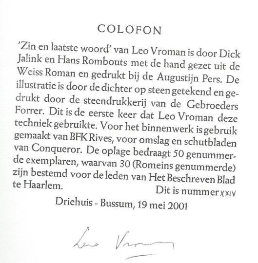 Colofon van 'Zin en laatste woord' door Leo Vroman.