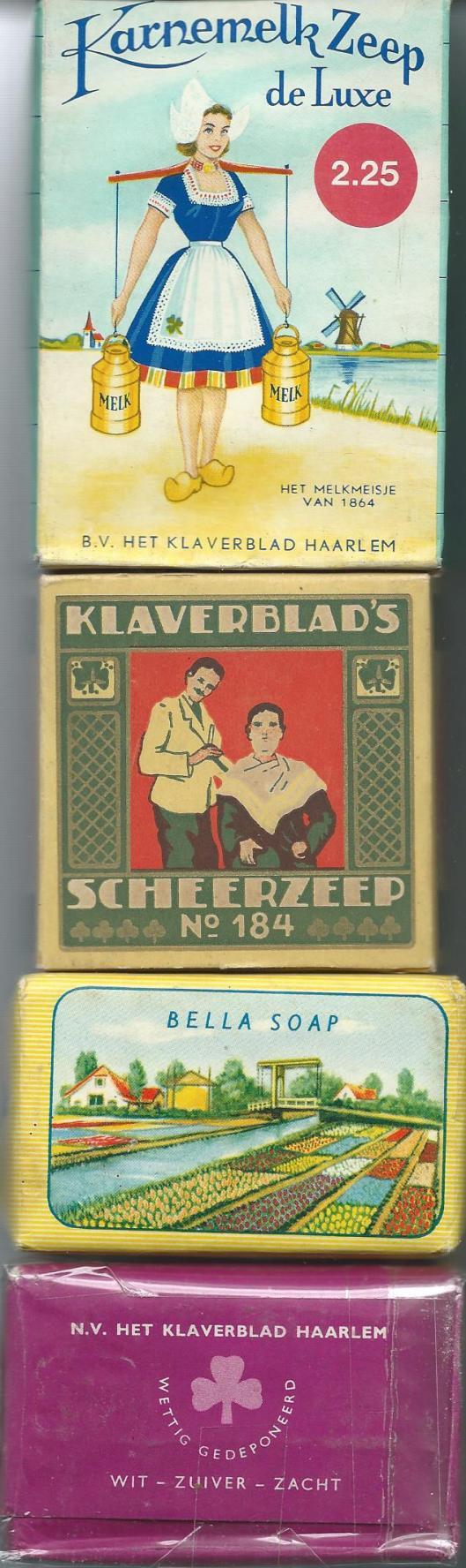 Voorbeelden van zeepjes afkomstig van zeepfabriek 'Het Klaverblad' Haarlem uit eigen bezit.
