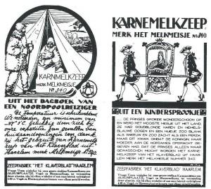 Twee advertenties uit de Katholieke Illustratie over de karnemelkzeep van de zeepfabriek 'Het Klaverblad'.