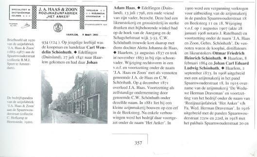 Over azijnfabriek J.A.Haas & Zoon, uit: 'Van oude nijverheid tot nieuwe zakelijkheid' door Marcel Bulte e.a. , 1998.
