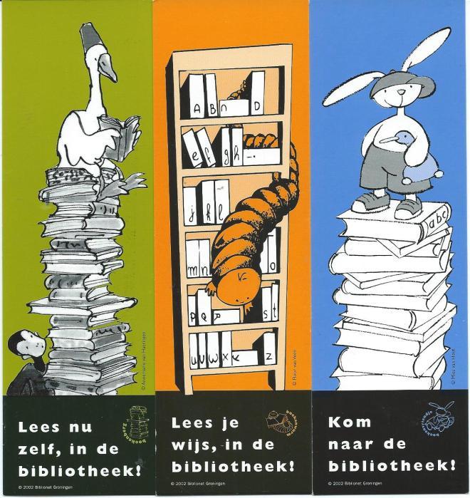 'Kom naar de bibliotheek', uitgave van Biblionet Groningen 2002