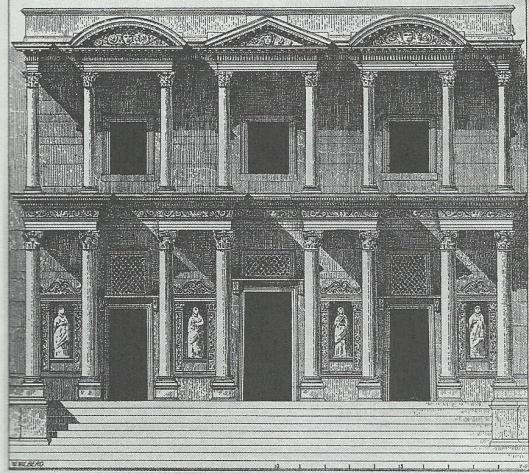 Voorgevel van de Celsusbibliotheek in Efese. Reconstructieschets door Wilhelm Wiberg, Wien