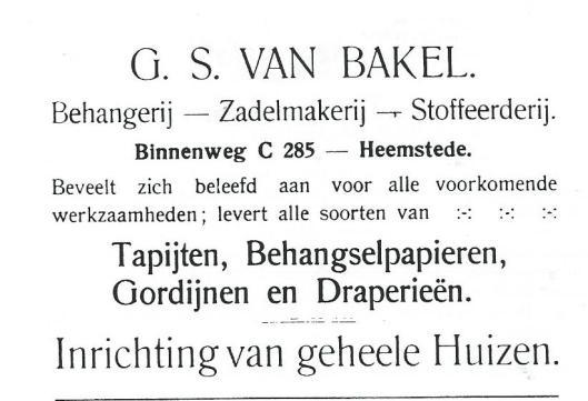 Advertentie van G.S.van Bakel voor de hernummering van de Binnenweg
