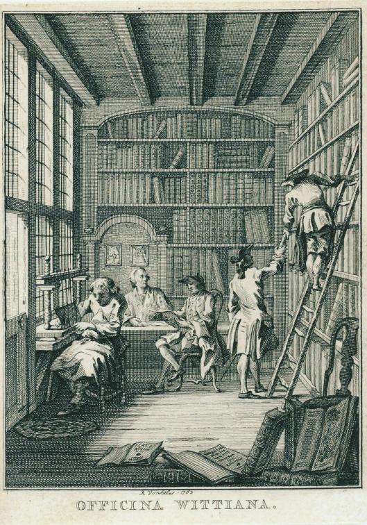 18e eeuwse boekhandel van De Wit op de hoek van de Molsteeg en Nieuwezijds Voorburgwal. Gravure 'Officina Wittiana' door Reinier Vinkeles, 1763