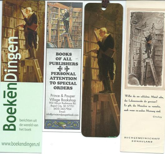 Boekenleggers met afbeelding van 'Der Bücherwurm' van Carl Spitzweg. V.l.n.r.: internetsite BoekenDingen; Prince & Pauper, bookshop in Rapid City USA; Ars Edition;Buchgemeinschaft Donauland.