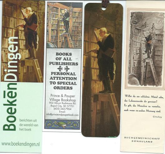 Boekenleggers met afbeelding van 'Der Bücherwurm' van Carl Spitzweg. V.l.n.r.: internetsite BoekenDingen; Prince & Pauper, bookshop in Rapid City USA; Ars Edition;Buchgemeinschaft Donauland.