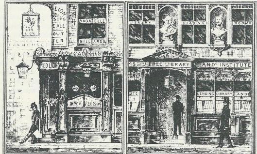 Cartoon uit Punck van de vrije openbare bibliotheek als alternatief voor de kroeg. Door J.Williams Benn, 1886