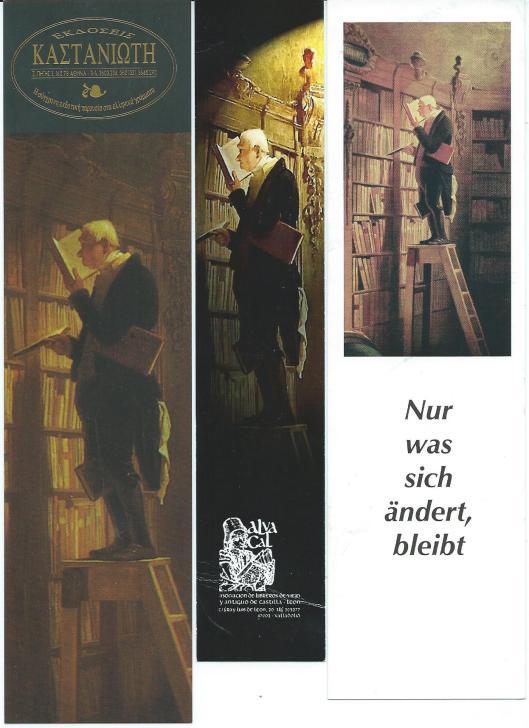 Boekenleggers met afbeelding van 'Der Bücherwurm' door Carl Spitzweg (1850). V.l.n.r.: boekhandel in Athene; boekhandel Villa del Libro in Valladolid, Spanje; MIKR Univers in Berlijn.