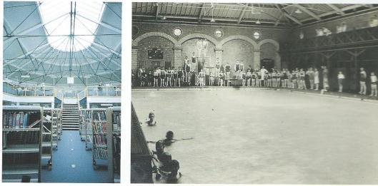 Waar tot 1997 zich het door William de Normanville ontworpen zwembad bevond in de 'Royal Pump Rooms' (foto rechts) is na een verbouwing sinds 1999 de openbare bibliotheek gehuisvest (foto links)