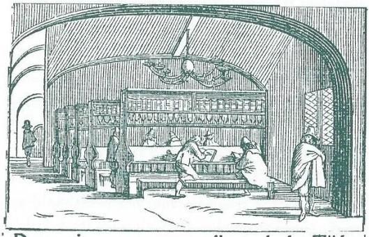 De Stads- en Athenaeumbibliotheek van Amsterdam omstreeks 1650. Als drukkersmerk gebruikt door uitgever-boekhandelaar Lodewijk Spillebout