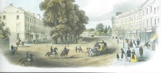 Terraces of fine houses and shops on the lower Parade and Euston Place in about 1850. The Royal Pump Rooms with its tenced garden can be seen in the background