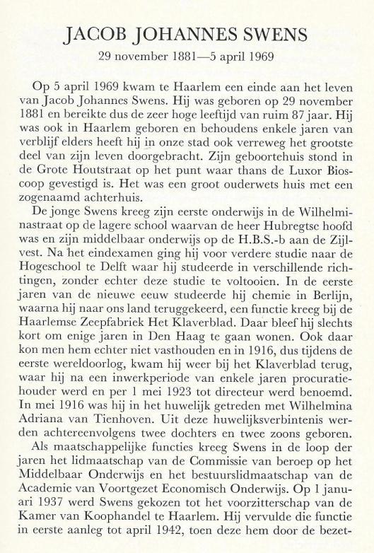 Necrologie Jacob Johannes Swens (1881-1969), door P.W.Peereboom. Uit: jaarboek Haerlem 1969. 1970, p. 29