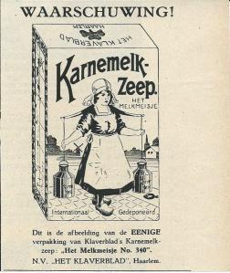 Waarschuwing ten aanzien van beeldmerk van Karnemelk Zeep met het Melkmeisje door n.v. 'Het Klaverblad' Haarlem