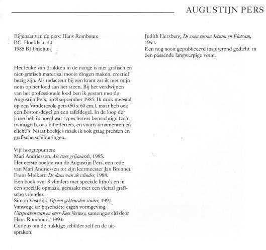 Tekst uit: Pastei & hoerenjong; 30 drukkers in de marge. 1995