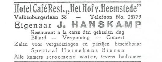 Advertentie van 'Het Hof van Heemstede', Valkenburgerlaan 38 Heemstede uit 1931 met toenmalig eigenaar J.Hanskamp
