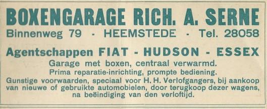 Advertentie van boxengarage Rich.A.Serné, Binnenweg 79 [later Verdonschot] uit 1930