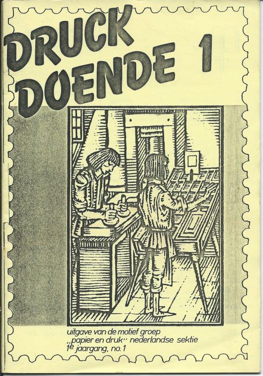 Vooromslag van het eerste nummer van 'Druck Doende', verschenen in september 1981.