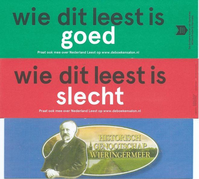 Boven en midden boekenleggers van 'de boekensalon', onder van Historisch Genootschap Wieringermeer