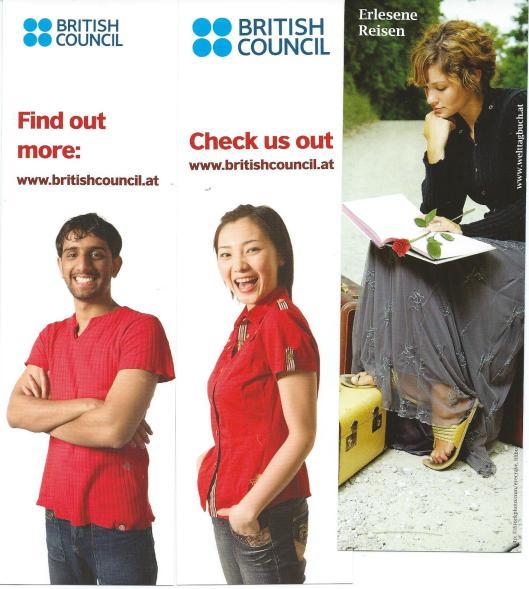 Links en midden boekenleggers van de British Council; rechts 'Erlesene Reisen' van Welttagbuch in Oostenrijk