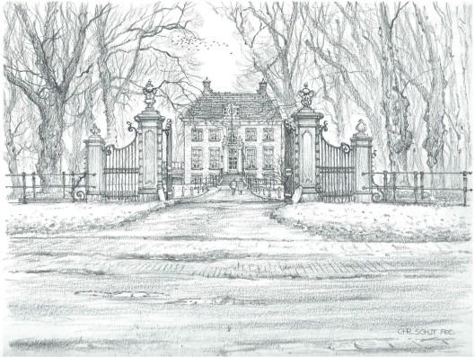 Huis te Manpad. Tekening door Chris Schut 1990
