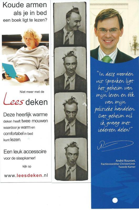 Boekenleggers, v.l.n.r.: Leesdeken; Kunst Haus Wien: Foto-Automaten-Kunst; Christen Unie, citaat van André Rouvoet.
